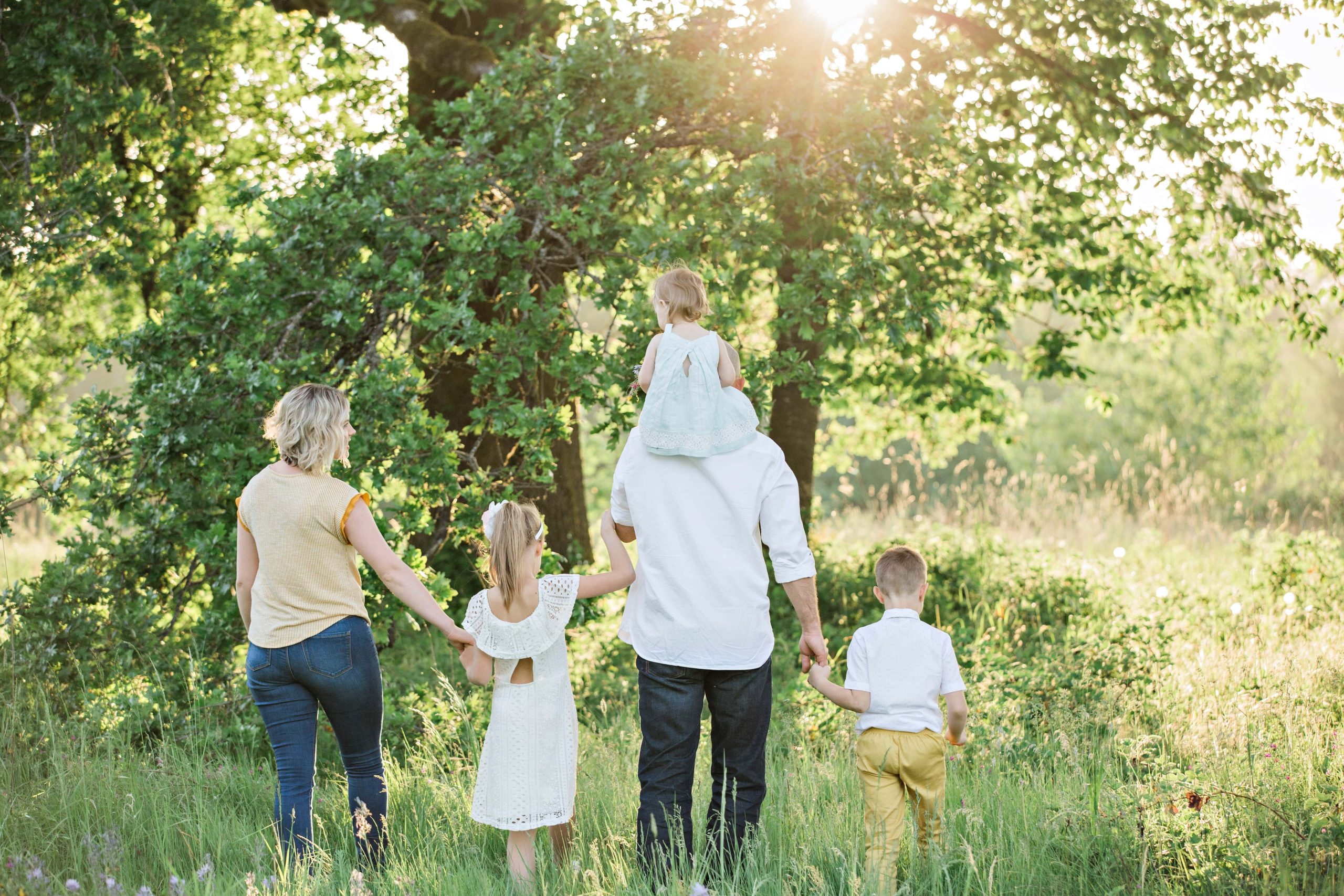 Image of a family of 5 walking in a sunny meadow.