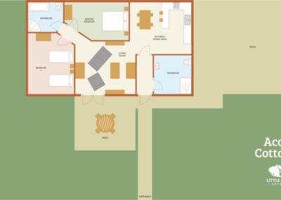 Acorn Holiday Cottage Devon - Cottage Floorplan - Little Dunley Cottages