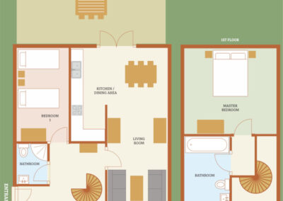Lake View Holiday Cottage Devon - Cottage Floorplan - Little Dunley Cottages