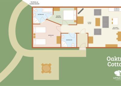 Oaktree Holiday Cottage Devon - Cottage Floorplan - Little Dunley Cottages