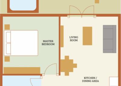 Willow Holiday Cottage Devon - Cottage Floorplan - Little Dunley Cottages